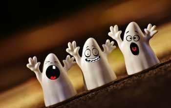 three ghost foam halloween decor